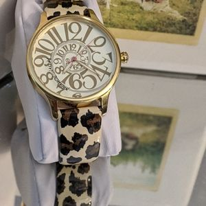 BETSY JOHNSON LEOPARD PATENT LEATHER WATCH